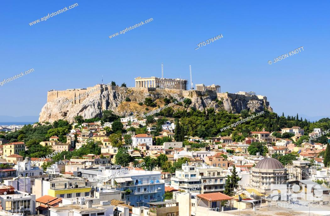 Stock Photo: The Acropolis and city of Athens, Athens, Greece.