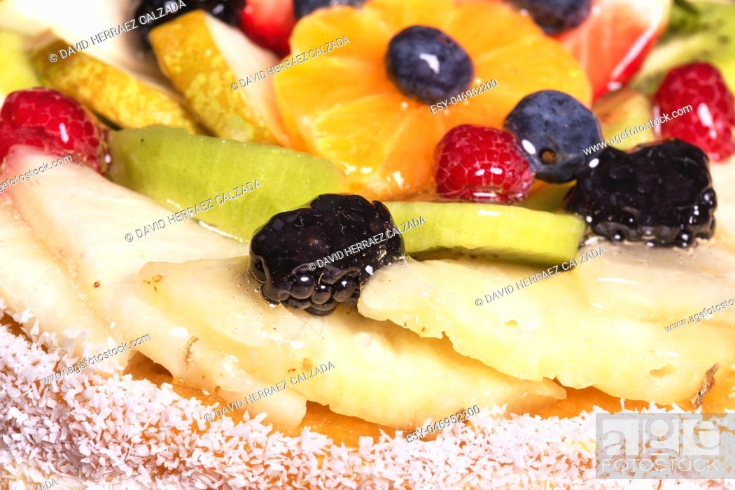 Stock Photo: Close up of a cake with fresh fruits .
