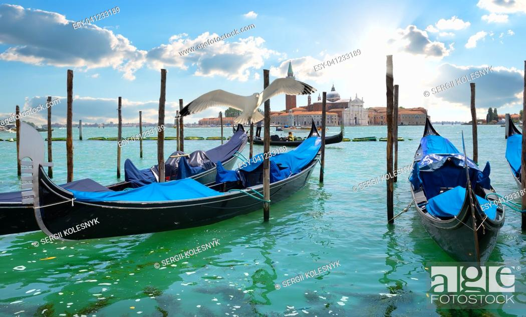 Stock Photo: Gondolas in Grand Canal in Venice, Italy.