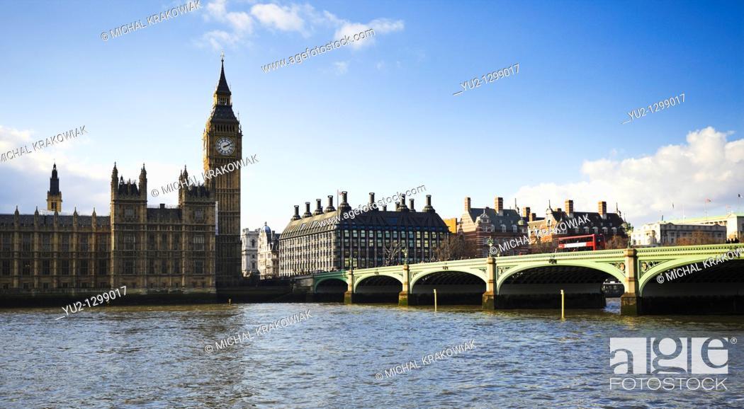 Stock Photo: London landmarks: Palace of Westminster, Big Ben and Westminster Bridge.