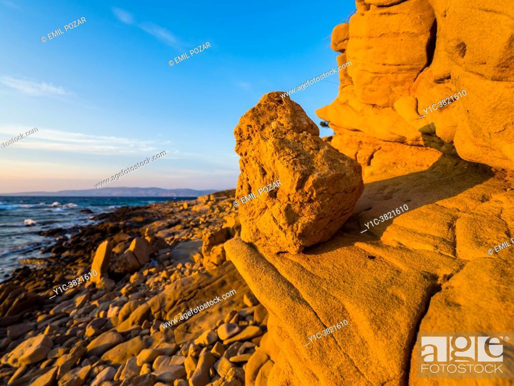Stock Photo: Tertiary marls sandstones Lopar peninsula Rab island Croatia Europe.