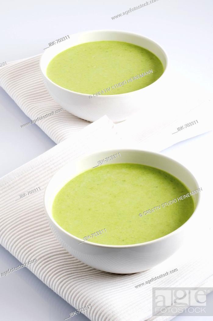 Stock Photo: Pea cream soup.