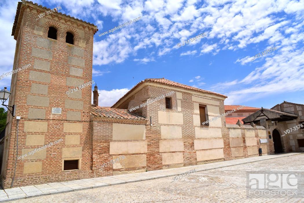 Stock Photo: Madrigal de las Altas Torres, Plaza del Cristo with Juan II Palace birthplace of Isabel la Catolica and Convento de las Madres Agustina at present.