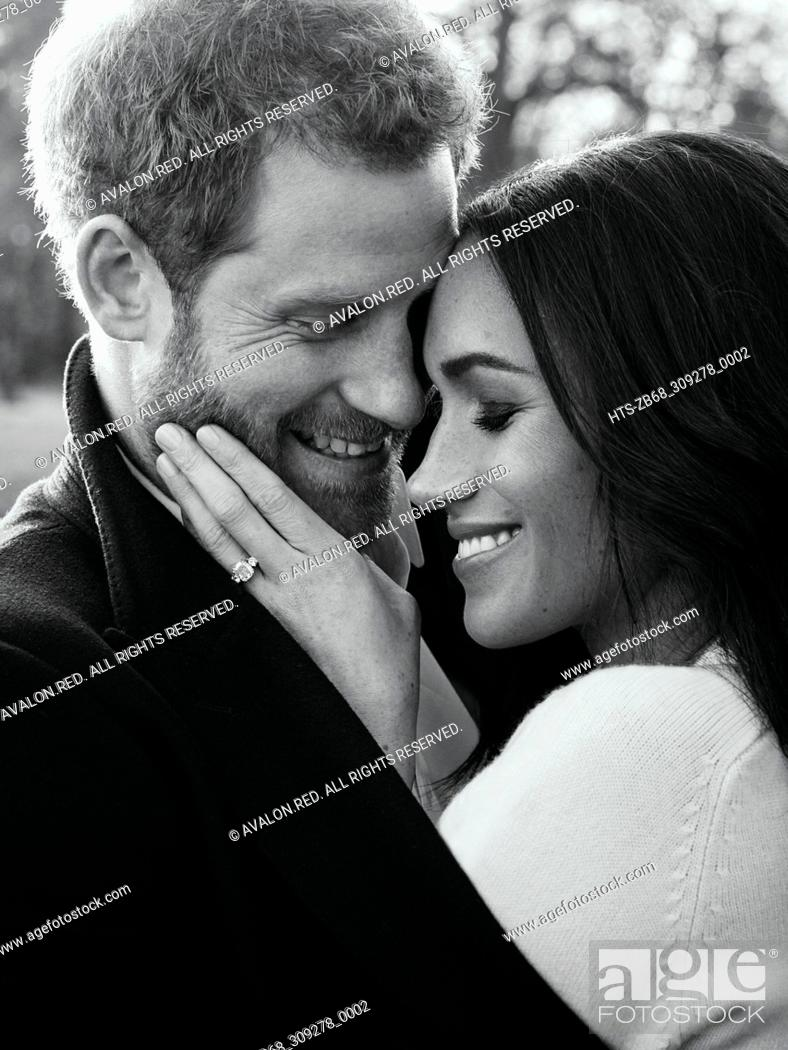 Stock Photo: An official engagement photo released by Kensington Palace of Prince Harry and Meghan Markle taken by Alexi Lubomirski earlier this week at Frogmore House.