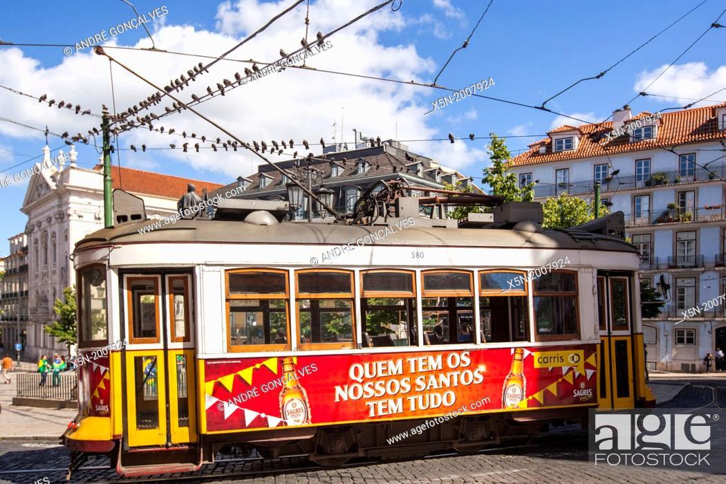 Stock Photo: Historical Tram, Lisbon, Portugal, Europe.