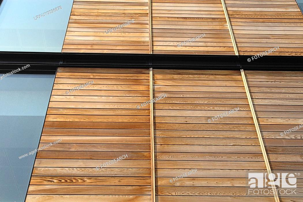 Stock Photo: Residential development with wood panels - timber cladding.