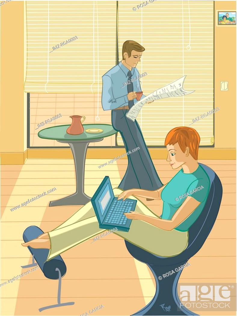 Stock Photo: An illustration of a couple relaxing at home.