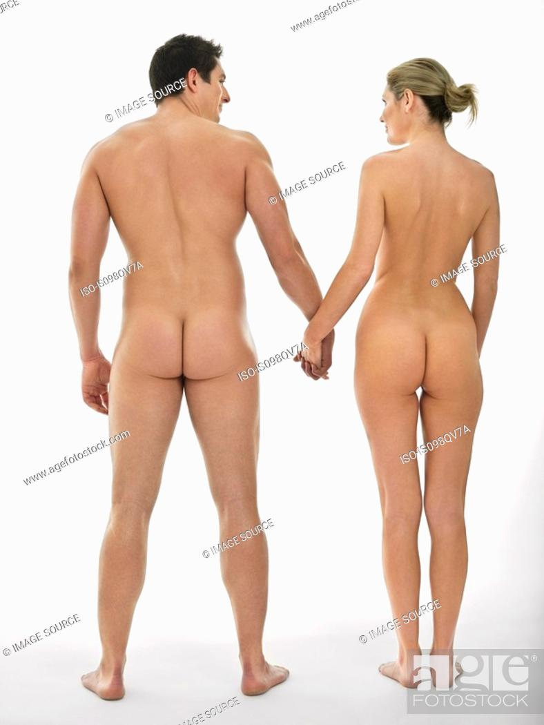 Stock Photo: Nude couple holding hands.