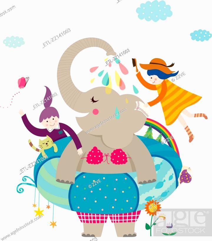 Stock Photo: Girls and elephant.