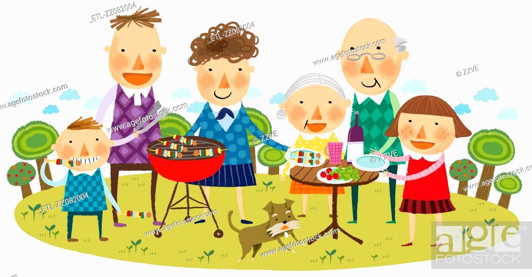 Stock Photo: portrait of large family at picnic.