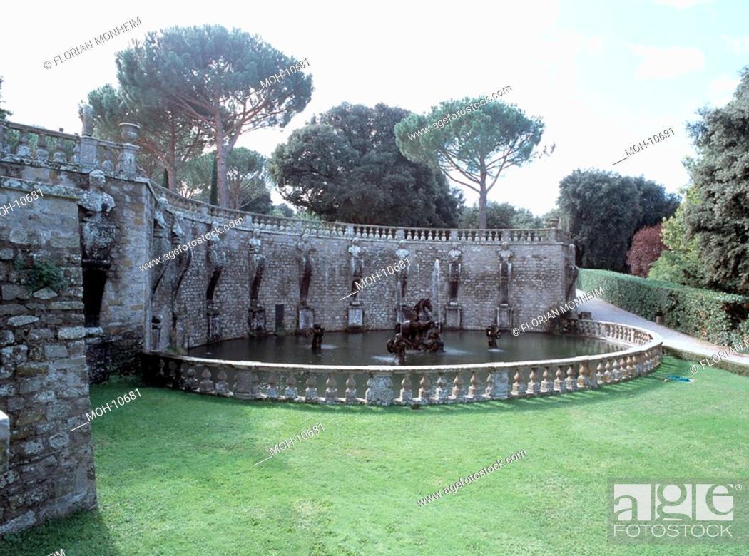Stock Photo: Bagnaia, Villa Lante, Gartenanlage.