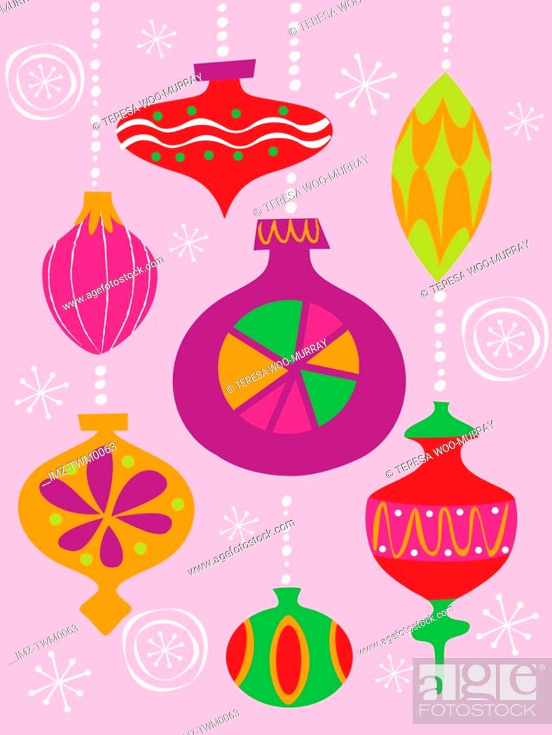 Stock Photo: Numerous Christmas decoration illustrated in different styles and colors.
