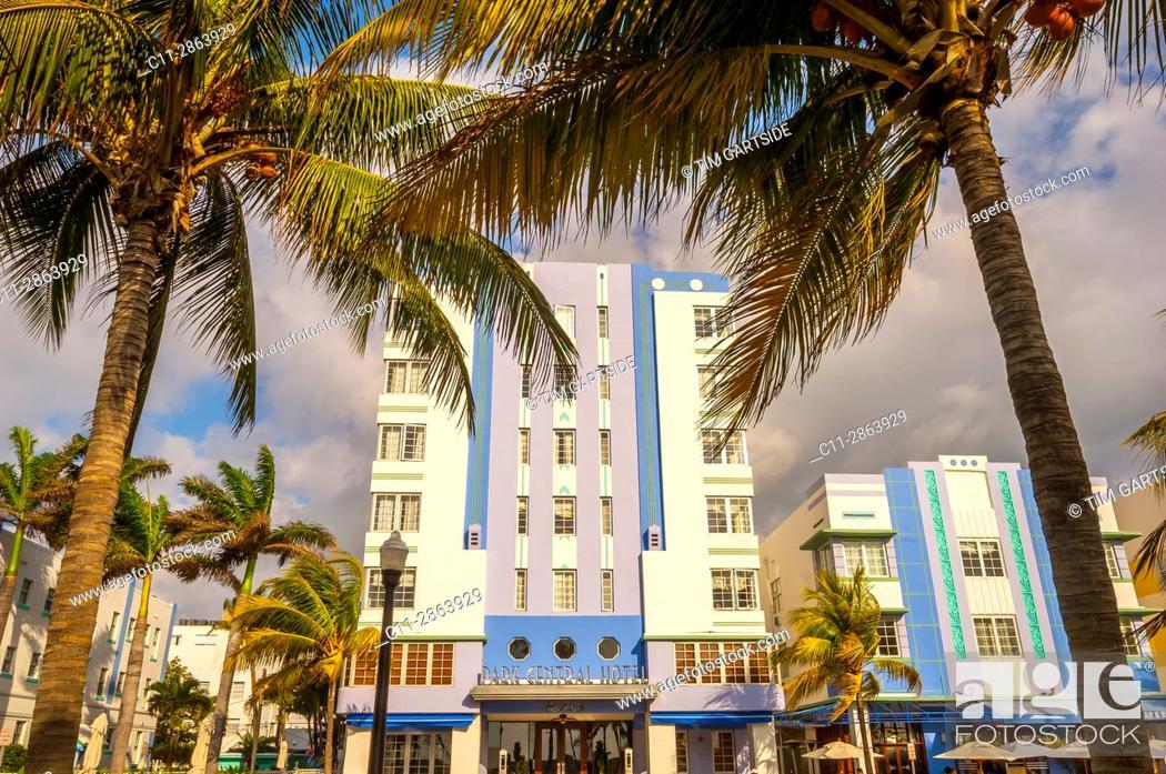 Stock Photo: park central Hotel, South Beach, Ocean Drive, Miami, Florida, USA.