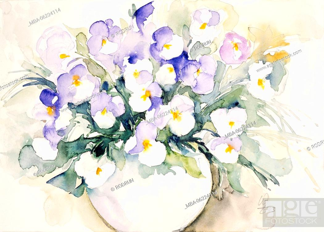 Stock Photo: Watercolor by Waltraud Zizelmann, blue and white pansies in a Vase.