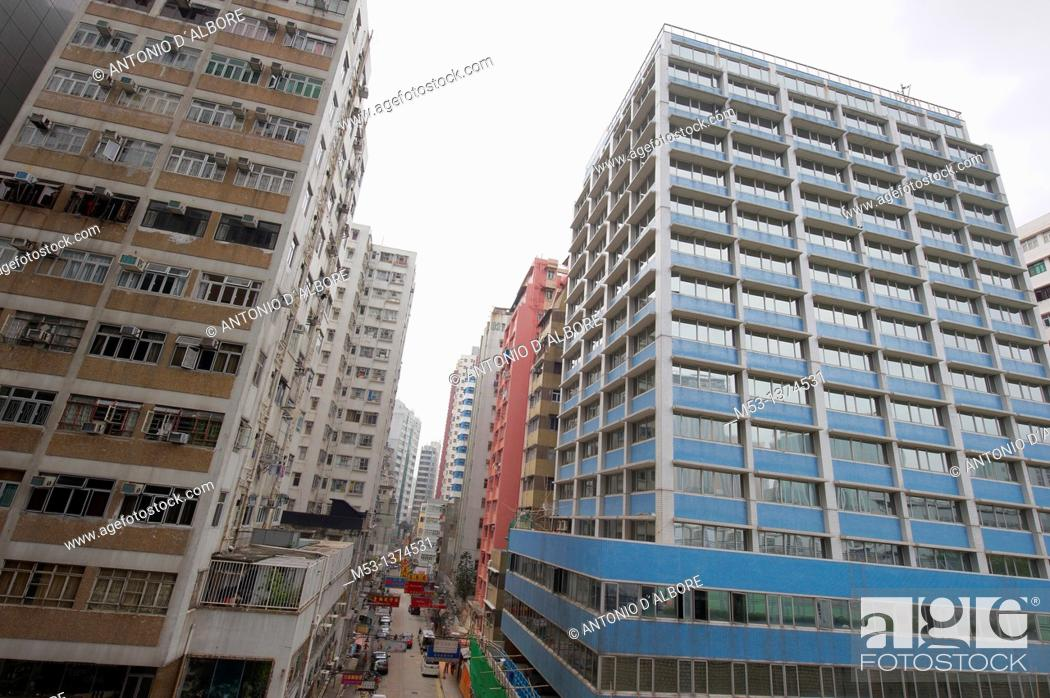 Stock Photo: Commercial and residential buildings in Bowring Street Yau Tsim Mong District Kowloon Peninsula. Hong Kong. China.