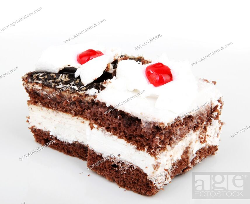 Stock Photo: Piece of chocolate cake isolated on white.