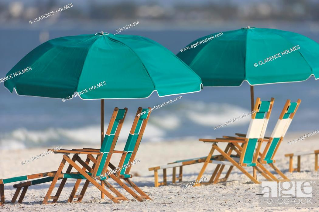 Stock Photo: Beach furniture on a sunny day at Fort Myers Beach, Florida, USA.