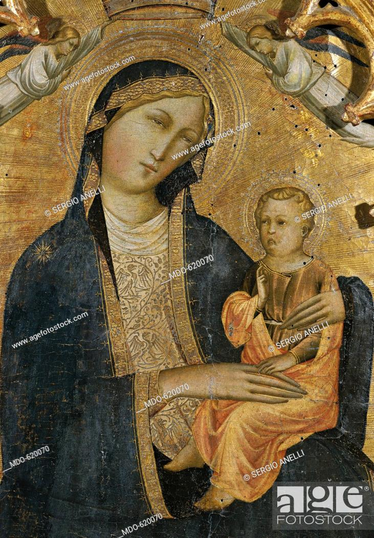 Stock Photo: Madonna of Humility with Two Angels, by studio of Agnolo Gaddi, 14th Century, tempera on wood, 110 x 60 cm. Italy, Tuscany, Firenze, Bardini Museum.