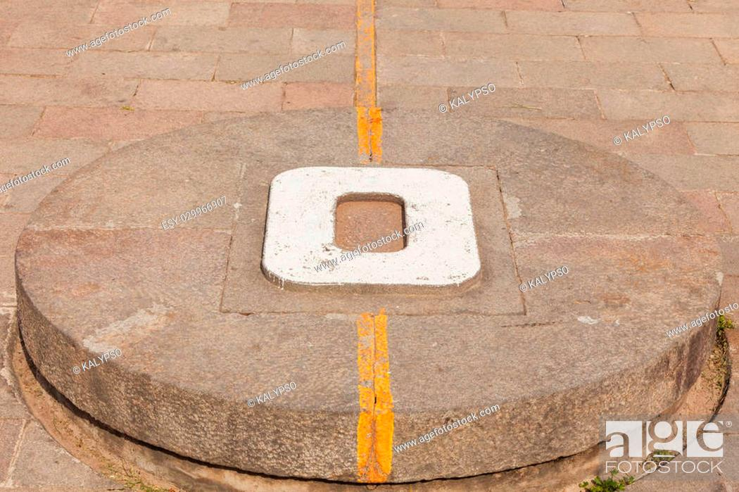 Stock Photo: Mitad Del Mundo, The 3 Meter Tall Monument Was Constructed Between 1979 And 1982 By Pichincha Province Council To Replace An Older.