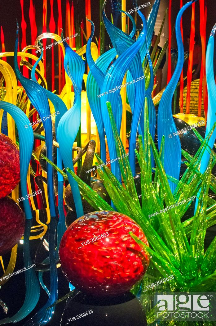 Stock Photo: Composition from colored glass with red ball, lightChihuly Garden and Glass museum, Seattle, USA.