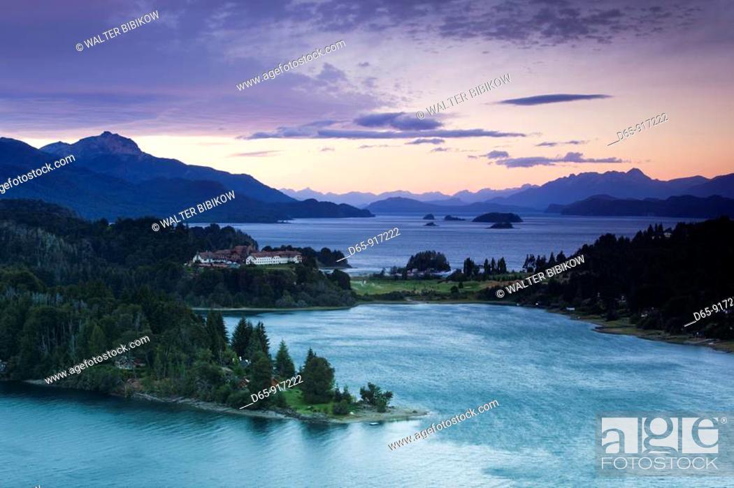 Stock Photo: Hotel Llao Llao and Lake Nahuel Huapi at dusk, Llao Llao, Lake District, Rio Negro Province, Argentina.