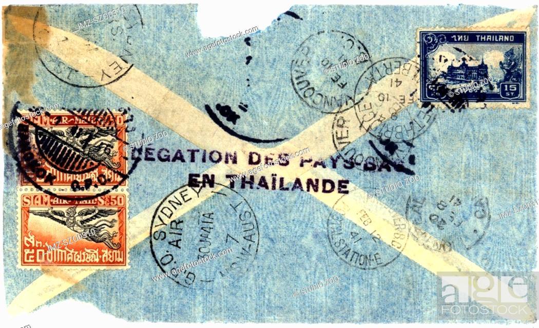 Stock Photo: Vintage envelope to Sydney via Thialand.