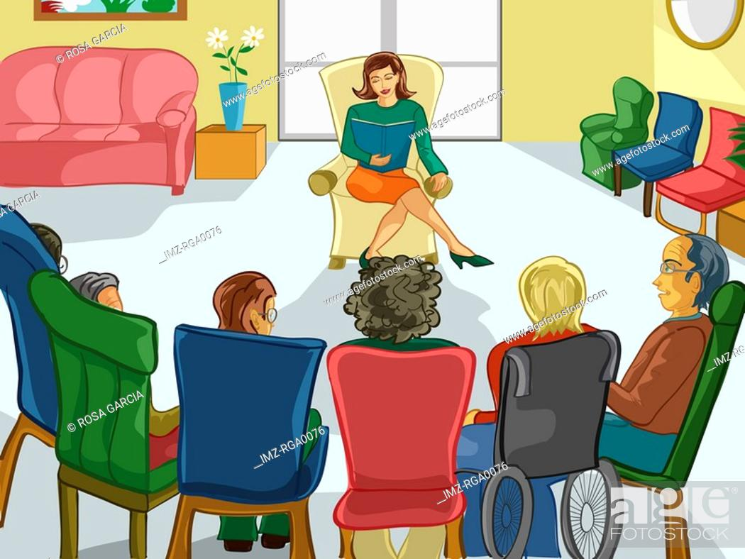 Stock Photo: A group of elderly people in a common room listening to a woman reading a book.
