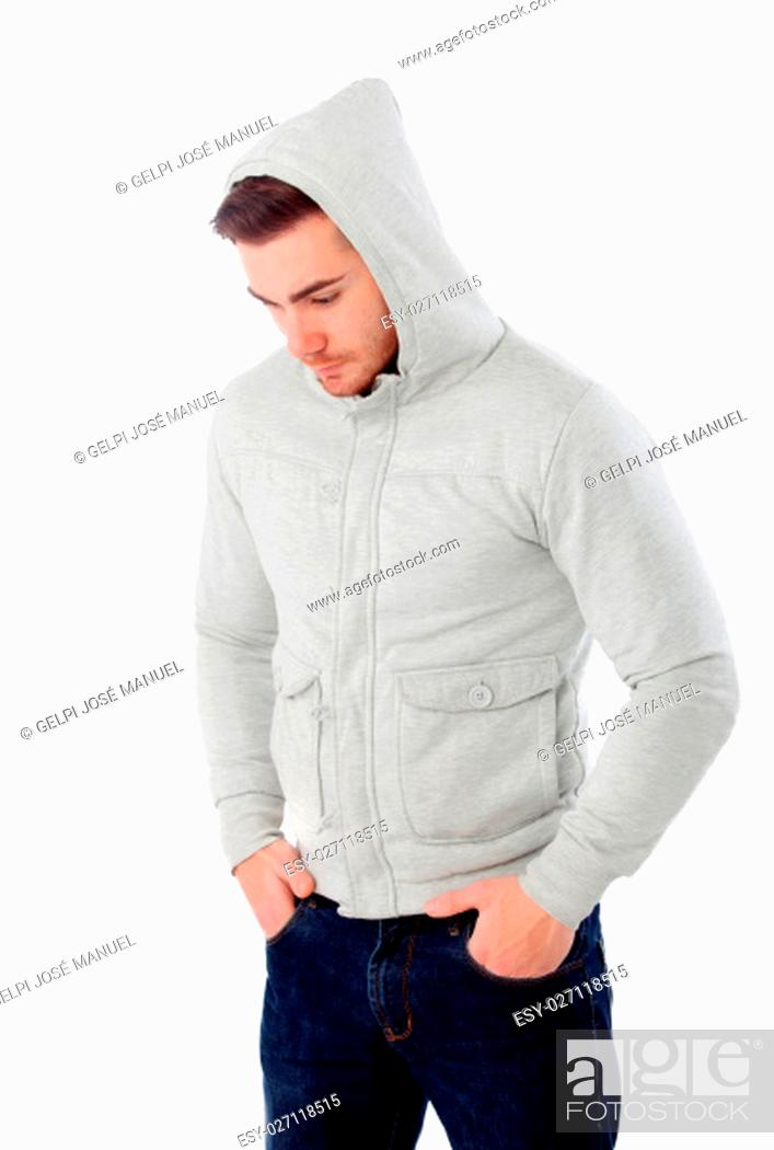 Photo de stock: Sad boy with hood isolated on a white background.