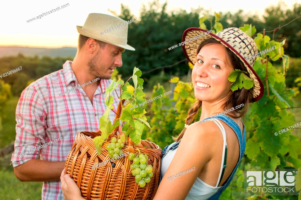 Stock Photo: Couple in grape picking at the vineyard with a wicker basket.