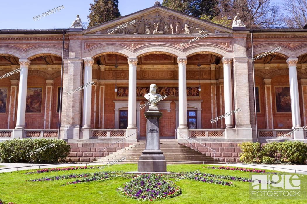 Stock Photo: Monument of Wilhelm l in front of the foyer in the spa gardens of Baden Baden. Baden Wuerttemberg, Germany, Europe.
