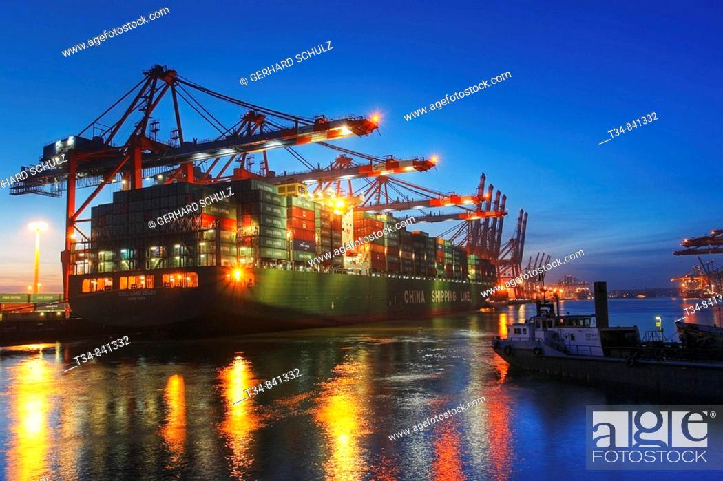 Stock Photo: Eurogate Container Terminal, Port of Hamburg, Germany.