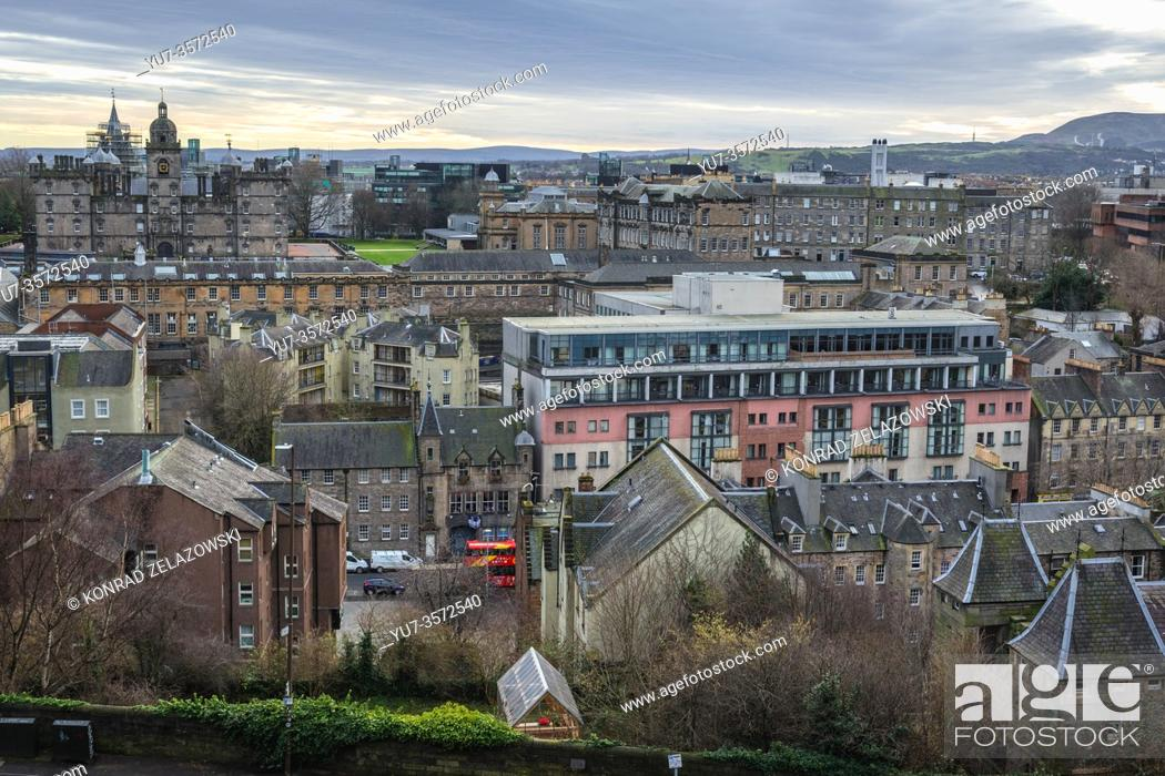 Stock Photo: Aerial view from esplanade of Castle in Edinburgh, the capital of Scotland, part of United Kingdom, George Heriots School on background on left.