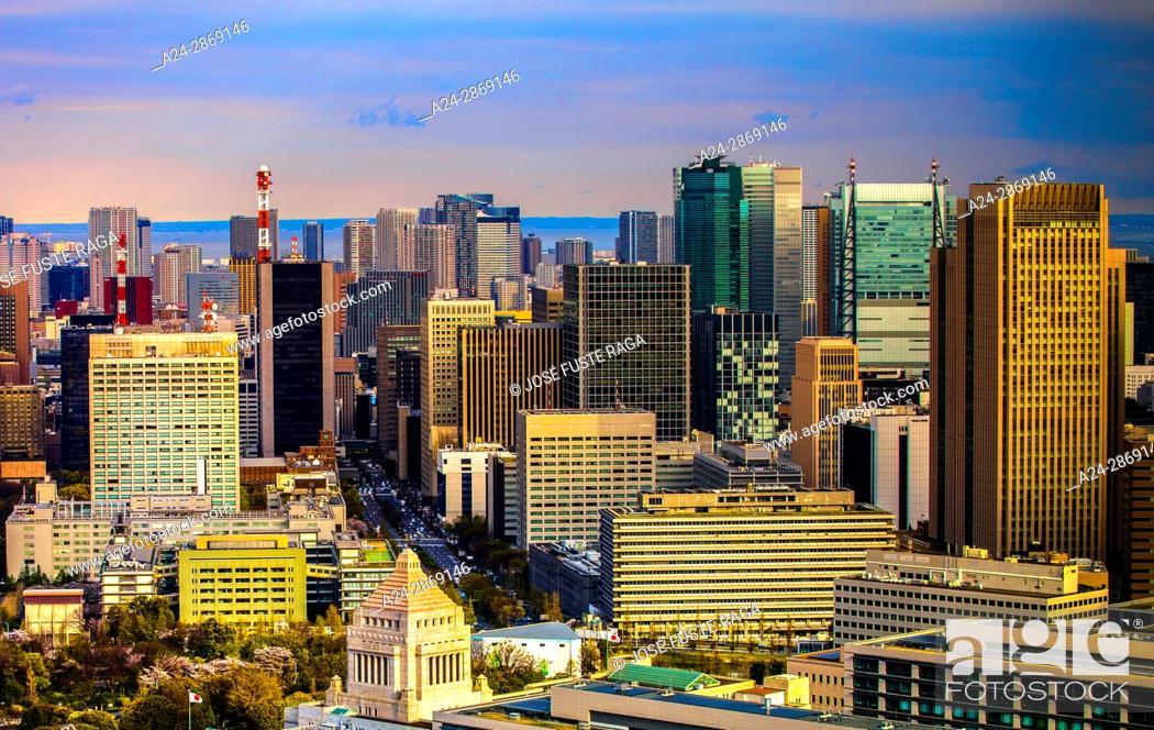Imagen: Japan, Tokyo City, Diet Bldg., Toranomon area skyline.