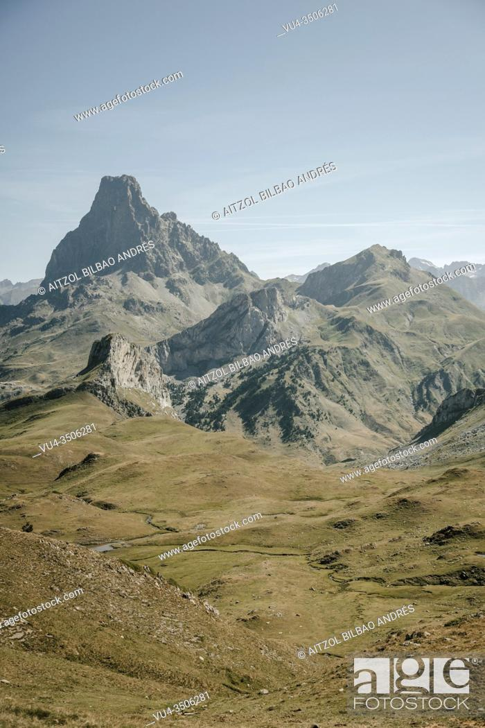 Stock Photo: Ossau valley from the border between spain and france, the big mountain is th Pic du midi d`ossau, a well known mountain for climbers on the pyrenees.
