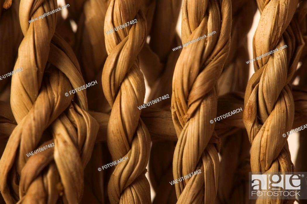 Stock Photo: Close-Up, Artistic, Cane, Brown, Braided, Arrangement.