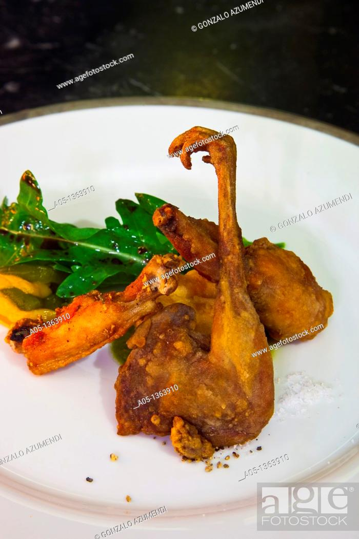 Stock Photo: Crispy concert  Fried quail, chicken and frog  The Eugenia hotel  Relais and Chateaux  Bangkok  Thailand.
