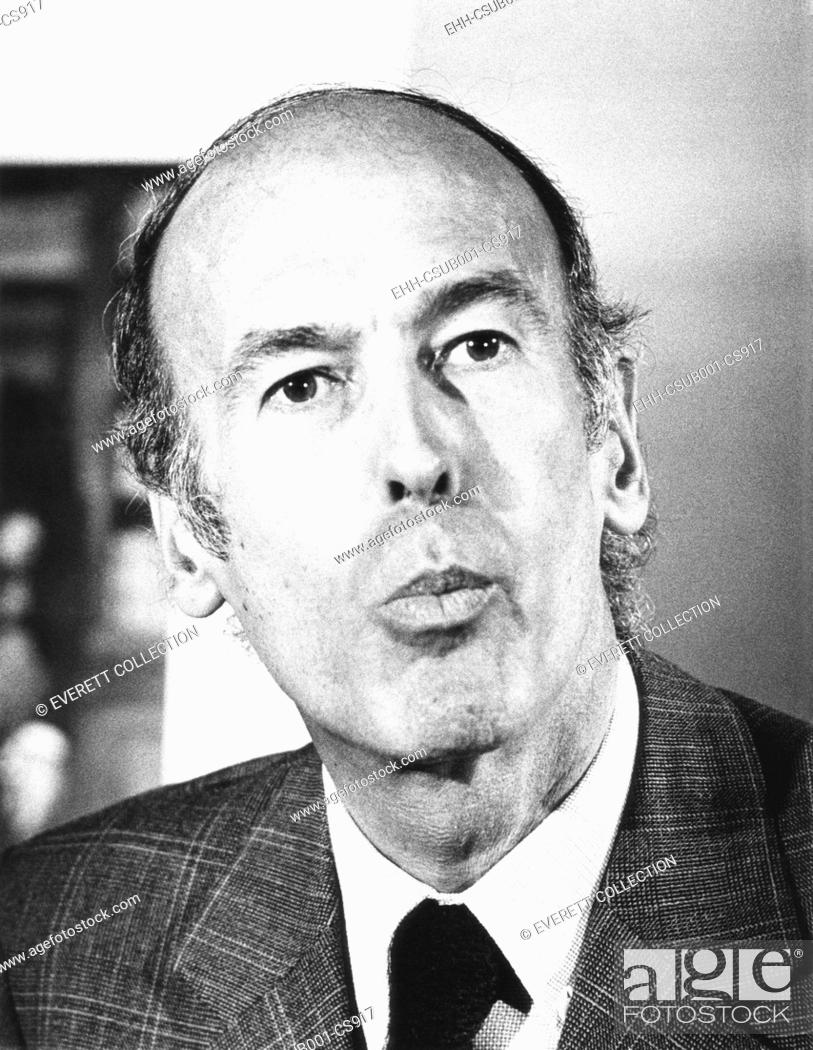 Stock Photo: French Presidential candidate Valerie Giscard d'Estaing speaking at a press conference. April 11, 1974. Giscard was defeated Socialist candidate François.