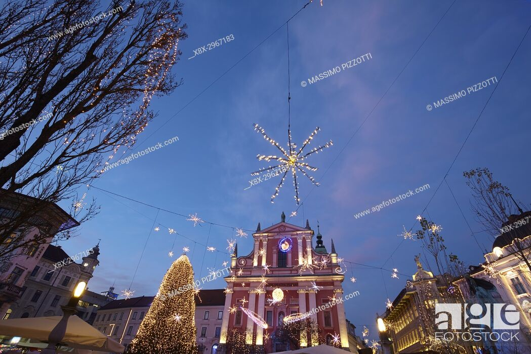 Stock Photo: Franciscan Church of the Annunciation, Ljubljana with Christmas decorations, Slovenia.