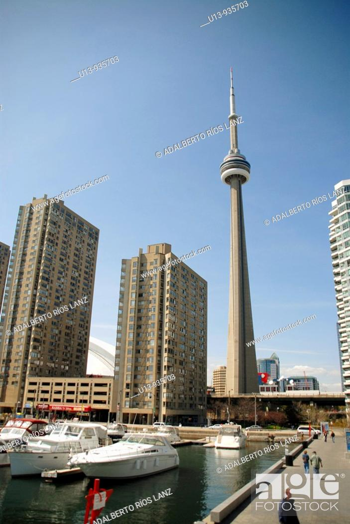 Stock Photo: Amsterdam Bridge and CN Tower from the Harbourfront Neighborhood Marina, Toronto, Ontario, Canada, North America.