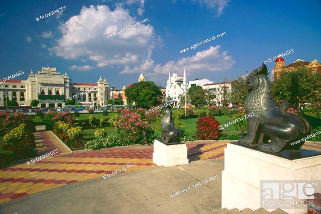 Stock Photo: Garden in front of buildings, Yangon, Myanmar.