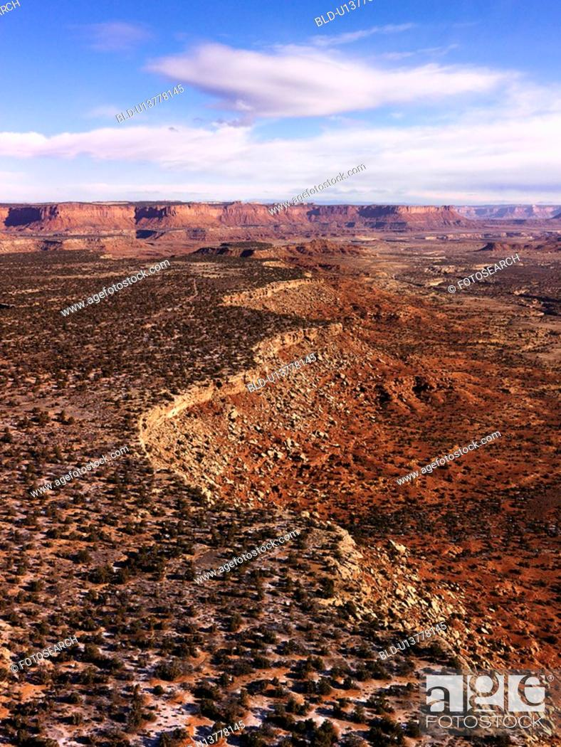 Stock Photo: Aerial landscape of canyon in Canyonlands National Park, Utah, United States.
