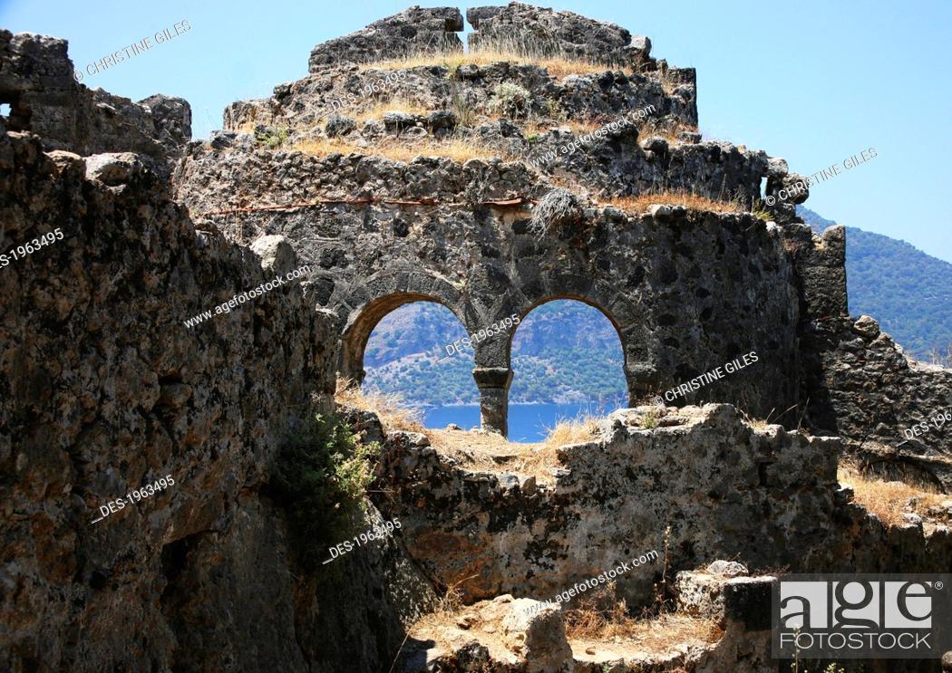 Stock Photo: historical ruins, gemiler island, fethiye, mugla province, turkey.