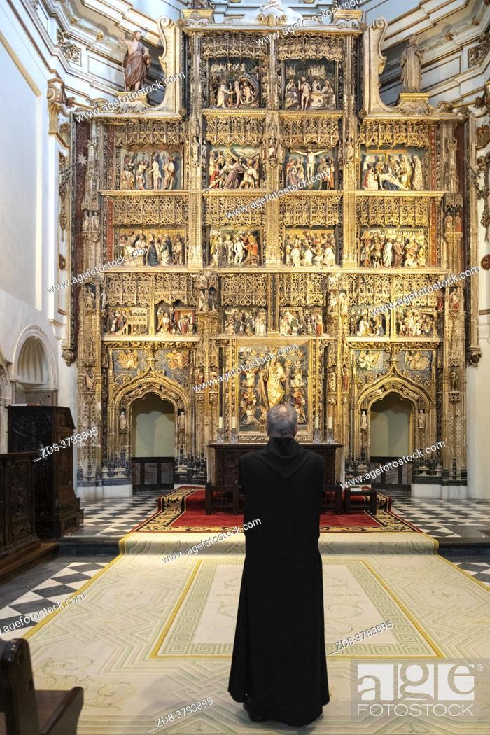 Stock Photo: altarpiece in the church of the Santa Maria de El Paular Monastery. Madrid. Spain.