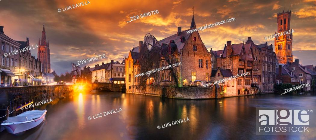 Stock Photo: Rozenhoedkaai by night. Bruges. Belgium.