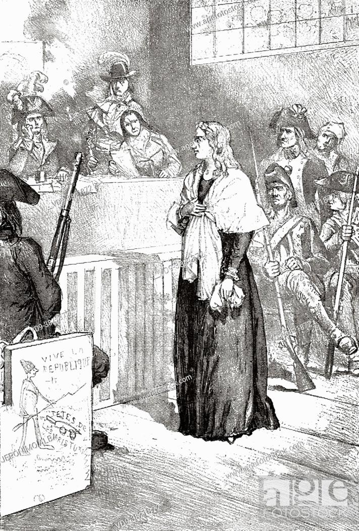 Stock Photo: Trial of Marie-Antoinette 81755 - 1793) before the French Revolutionary Tribunal, 14th October, 1793. Marie Antoinette,.