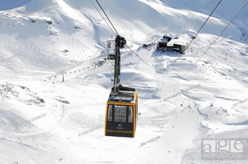 Stock Photo: Cabin of the Nebelhorn Cable Car, Nebelhorn, 2224m, Oberstdorf, Allgaeu, Bavaria, Germany, Europe.
