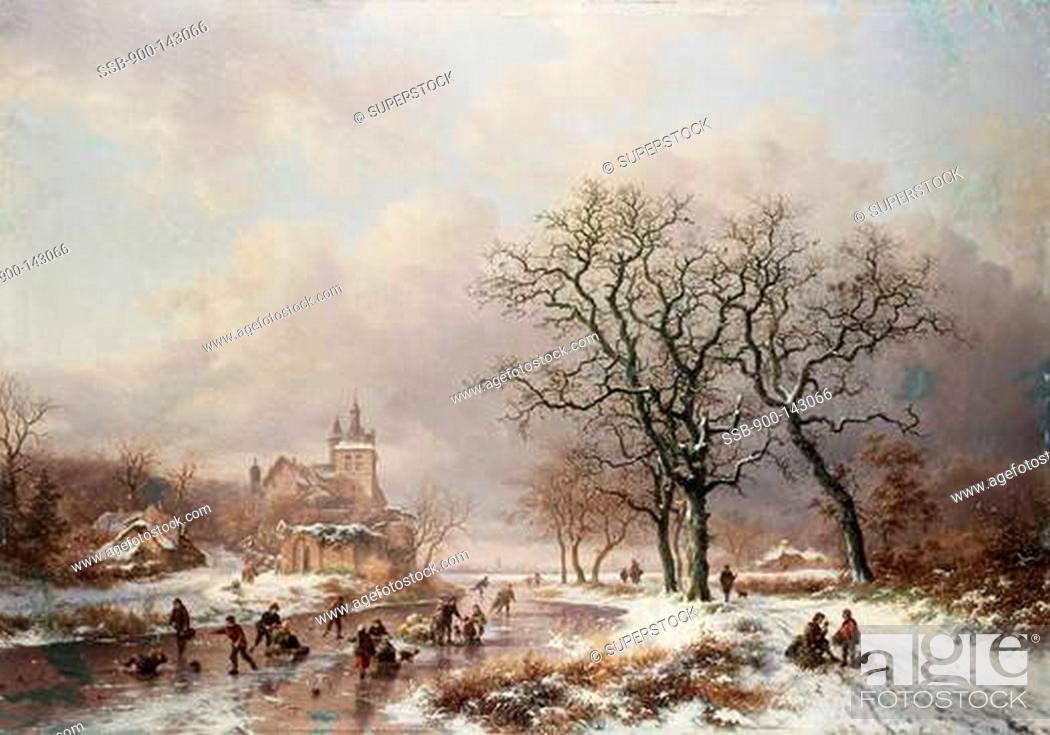 Stock Photo: Figures On A Frozen Waterway 2 1867 Frederik Marianus Kruseman 1817-1860 Dutch.