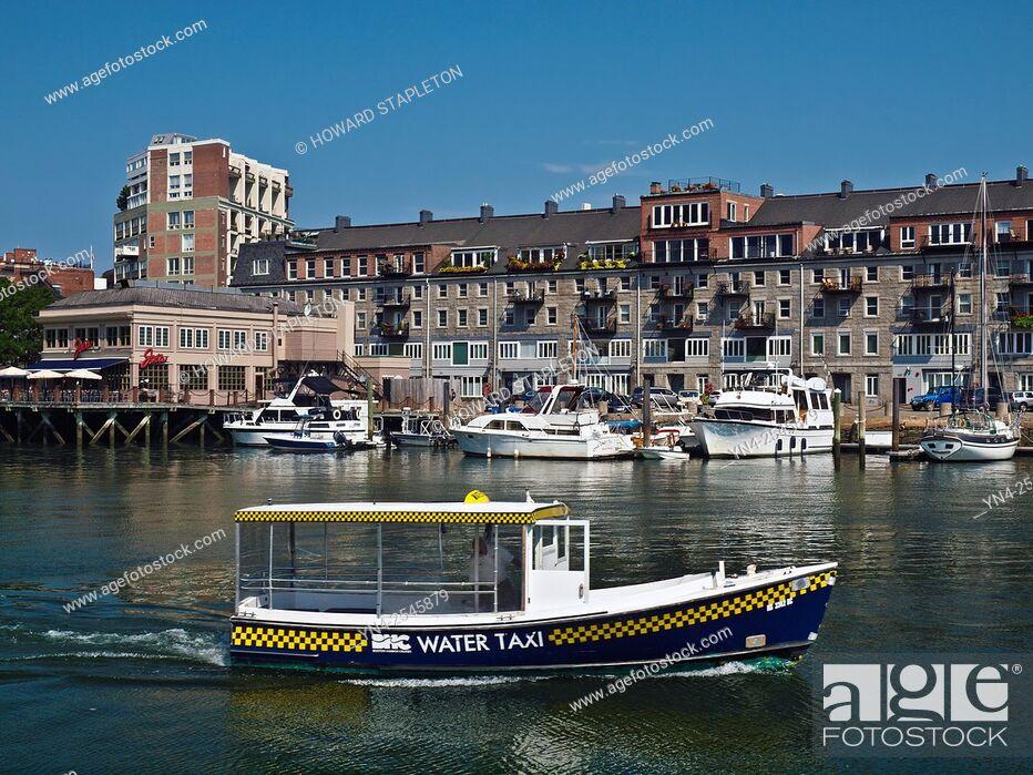 Stock Photo: Water taxi in Boston Harbor. Boston, Massachusetts, U. S. A.