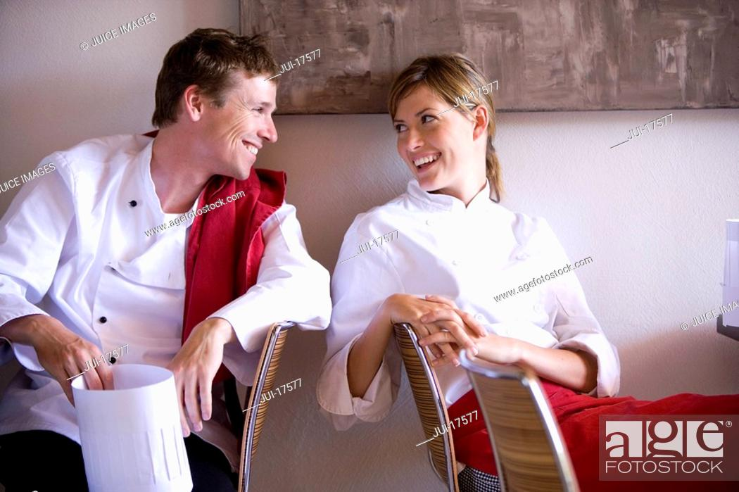 Stock Photo: Chefs relaxing in cafe.