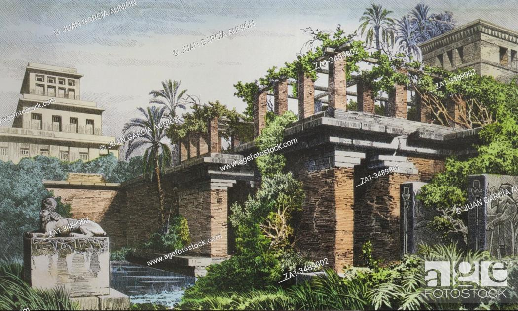 Stock Photo: Hanging Gardens of Babylon. 19th Hand-coloured engraving.